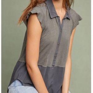 Boho 1/2 Button Down tunic top raw hem sleeves
